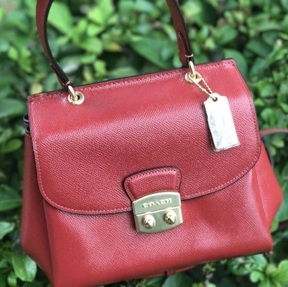Coach Handbags - Coach Small Patent Leather Avary Crossbody Bag Red